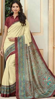 Silk—for which the love of woman is never measurable. Whether Kancheepuram Silk, South Silk or Tussar Silk, it carries the elegance of woman in all ages; the most admirable attire women of India wear with panache Latest Indian Saree, Ethnic Sarees, Indian Sarees Online, Silk Sarees Online, Chanderi Silk Saree, Cotton Saree, Sari Design, Wedding Silk Saree