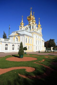 Peterhof, the Grand Palace of Peter the Great, Saint Petersburg, Russiw
