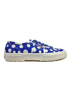 Blue & White Dot Lace-Up Sneaker