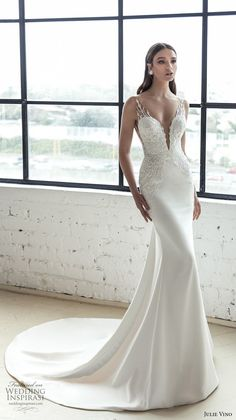 julie vino 2019 romanzo bridal sleeveless deep plunging sweetheart neckline heavily embellished bodice romantic fit and flare wedding dress low v back chapel train (8) mv -- Romanzo by Julie Vino 2019 Wedding Dresses