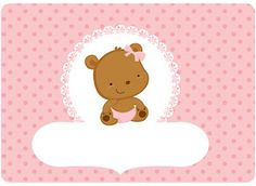 Kit Festa Pronta Ursinha  Baby grátis para imprimir Tarjetas Baby Shower Niña, Imprimibles Baby Shower, Baby Shower Frame, Canson, Baby Door, Baby Shawer, Bear Party, Frame Template, Silhouette Projects
