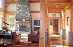 Located on the shores of Lake Champlain this energy efficient, luxury timber frame home has some of the most scenic vistas Vermont has to offer. Upon walking through the entry this beautiful dug fur timber frame opens to cathedral great room with a spectacular hand set ledge stone fireplace.