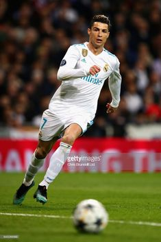 Cristiano Ronaldo of Real Madrid in action during the UEFA Champions League Quarter Final, second leg match between Real Madrid and Juventus at Estadio Santiago Bernabeu on April 2018 in Madrid, Spain. Cristiano Ronaldo, Barcelona E Real Madrid, Ronaldo Real, Uefa Champions League, Stock Pictures, Finals, Soccer, April 11, Legs