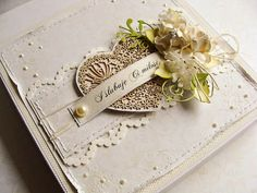 card with heart heart vintage shabby chic roses leaves ribbon bow DIY card Dorota_mk