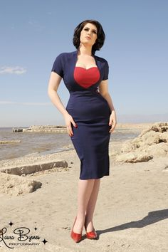 Pinup Couture - Veronica Dress in Navy with Red Heart