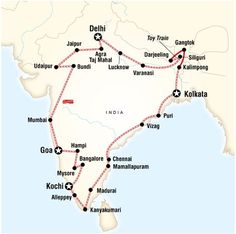 Ultimate India: from Delhi to Delhi (Duration: 46 days). Ride a toy train in Darjeeling, live like a local in the Kerala Backwaters, indulge in the relaxing vibe and tasty food of seaside Goa, explore the breathtaking ruins of the Karnataka region in Hampi, marvel at the iconic Taj Mahal, wander the Rajasthani streets of Jaipur and Udaipur.