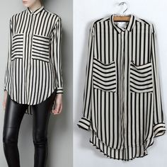 Black White Vertical Stripe Long Sleeve Shirt Chiffon..This look is stunning! HOT RED LIPS WITH IT