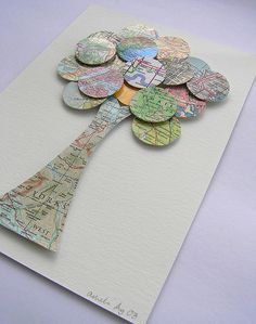Simple tree made from maps and circles great idea for kids crafts thanks to Jaime from Crafty Scrappy Happy Map Crafts, Diy And Crafts, Crafts For Kids, Arts And Crafts, Origami, Art Projects, Projects To Try, Simple Tree, Map Globe