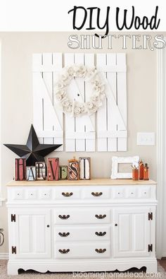 Create a budget friendly wall accent with these diy barnwood shutters. Easy diy project for the beginner.
