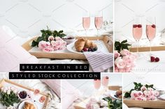 Breakfast in Bed Photo Mockup Styled Stock Photography featuring champagne and pink roses. $67 https://crmrkt.com/Rjkdk #ad