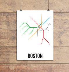 Boston Subway Map Print - Boston T Transit Map - Poster, Boyfriend Gift, Husband…