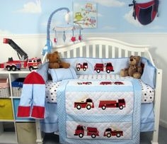 IF I HAVE A BOY SO DOING FIRETRUCKS because my dad is a firefighter so his pawpaw is a firefighter and he will grow up around them since I am a single mother.    SoHo Fire Trucks Baby Crib Nursery Bedding Set 13 pcs included Diaper Bag with Changing Pad & Bottle Case by SoHo Designs, http://www.amazon.com/dp/B000TV9MMW/ref=cm_sw_r_pi_dp_0My5rb1AQM7TA