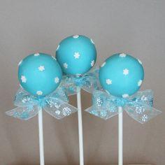 12 Snowflake Cake Pops - for Winter Wonderland, Wedding, Hostess or teacher gift, Disney's Frozen party, birthday or baby shower favor
