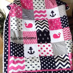 Nautical Quilt in Hot Pink & Navy by Lovesewnseams on Etsy