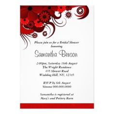 ravishing red bridal shower invitations for the modern bride pretty personalized