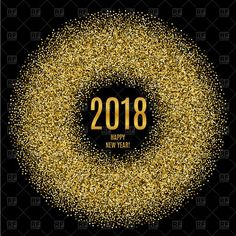 Vector image of 2018 Happy New Year poster with glitter circle #158946 includes