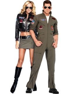 Women's Bomber Jacket and Men's Flight Suit Top Gun Couples Costumes - Party City