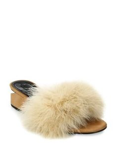 ALEXANDER WANG Lou Tilt-Heel Feather & Suede Slides. #alexanderwang #shoes #