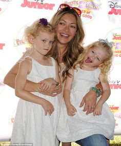 Love: Rebecca Gayheart cuddled with her two daughters Billie and Georgia, who both matched. Rebecca Gayheart, Two Daughters, Disney Junior, Alyssa Milano, Cuddling, Mothers, Georgia, Sexy Women, White Dress