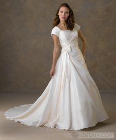 Fantastic A-line/Princess Short-Sleeve Off-the-shoulder Floor-Length Chapel Pick-up Wedding Dresses