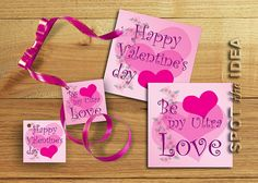 PRINTABLE Valentine's Day Set of 2 Cards 4X4 and 2 by SPOTtheIDEA, €3.00
