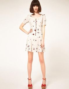 Bow Pink Strawberry Printed Round Neck Short Sleeve Loose Dress