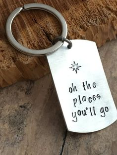 Graduation Key Chain, Gift for Graduate, Hand Stamped Keychain, Personalized… Hand Stamped Metal, Stamped Spoons, Hand Stamped Jewelry, Metal Jewelry, Bullet Jewelry, Diy Jewelry, Jewlery, Geek Jewelry, Gothic Jewelry