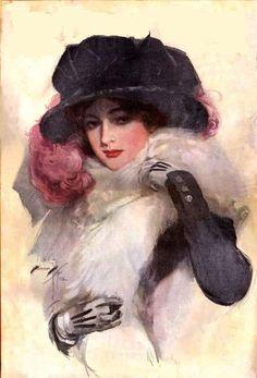 Harrison Fisher Fabric Block Victorian Edwardian Ladies World 1913