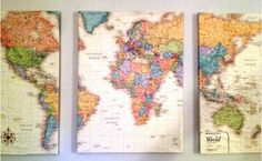 DIY Canvas Map for pinning your travels!