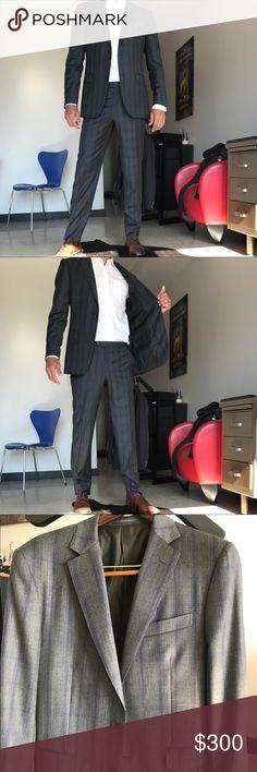 "Men's w/ blue grey 2-button slim fit suit. Grey plaid w/ blue accent (the close up is most accurate color) Pal Zileri slim fit suit. Size 42L. Size 34x34 trousers flat-front. Slim fit. Model is 6'3"" and 200 lbs. Pal Zileri Suits & Blazers Suits"