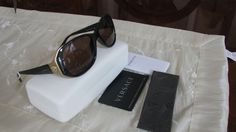 VERSACE WOMEN BROWN AND GOLD SUNGLASSES MADE IN ITALY  #VERSACE #Designer