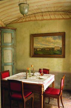 interiorexteriors:  rompe l'oeil tented ceiling! Roberto Peregalli's Milan apartment | World of Interiors - July 2013