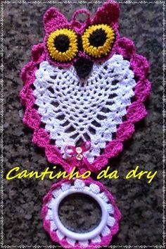 Croches da dry: PORTA PANO DE PRATO CORUJA CROCHE                                                                                                                                                                                 Mais