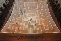 The BIG Maze - Bjarke Ingels Group's aptly named labyrinth opened on July inside the West Court of Washington, DC's National Building Museum (NBM). The BIG Maze is on display until September (Image courtesy of National Building Museum) National Building Museum, Student House, Stage Decorations, Maze, Architecture, Signage, Minimalism, Gallery, July 4th
