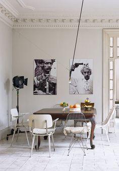 black and white wall art in barcelona dining room via AD España. / sfgirlbybay