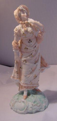 VOLKSTEDT фарфора старинных леди фигурка-персиковый платье-красивая фигурка РЕДКАЯ in Антиквариат, Декоративное искусство, Керамика и фарфор, Фигурки | eBay