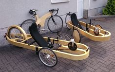 Trikes (tadpole) - Two wheels on front. Trike Bicycle, Recumbent Bicycle, Cargo Bike, Electric Motor, Electric Cars, Wood Projects, Woodworking Projects, Soap Box Cars, E Biker