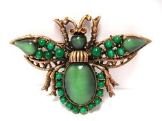 Green Art Glass & Rhinestone Insect Brooch