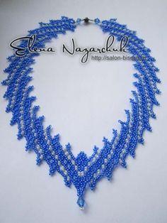 Necklace Tenderness -intermediate netting.  In Russian but nice schemas  ~ Seed Bead Tutorials