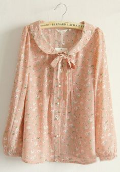 Pink Floral Buttons Belt Puff Sleeve Silk Blouse