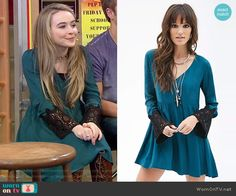 Maya's teal dress with black lace sleeves on Girl Meets World.  Outfit Details: http://wornontv.net/52613/ #GirlMeetsWorld