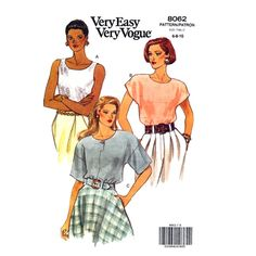 Womens Pullover Blouse Pattern Vogue 8062 Loose Fit Top Size 6 to 10 UNCUT - product images  of