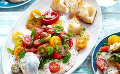 Bright, colourful, tasty tomatoes with a lush white bean puree. Whip this up for your dinner party guests or as a light lunch. It's ideal for diabetics. Recipe by the Australian Women's Weekly.