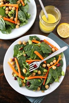 spinach + edamame salad (plus chickpeas, Craisins, carrots, pepitas and a lemon olive oil dressing)