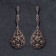 sterling silver marcasite earrings by bloom boutique | notonthehighstreet.com