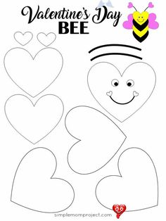 Easy to Make Valentine's Day Bee Paper Craft FREE Printable Template - Simple Mom Project See this post for a FREE printable template to make your own Valentine's Day Bee! This simple DIY Bee Valentine's Day is an easy craft for toddlers, big kids and adults to make. Great for classroom Valentine's Day art projects.<br> Make your own Valentine's Day cards this year with this easy Valentine's Day Bee paper craft. It comes with two free printables simple instructions! Toddler Valentine Crafts, Easy Toddler Crafts, Valentine's Day Crafts For Kids, Arts And Crafts Projects, Easy Crafts, Valentines Art For Kids, Kids Diy, Decor Crafts, Decoration Creche