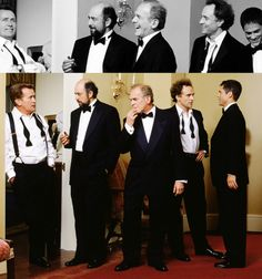 the men of west wing in various states of formal wear! president bartlet, toby ziegler, leo mcgarry, josh lyman, sam seaborn josh's hair!