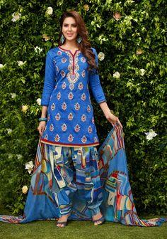 Blue Cotton Punjabi Suit 65584