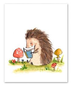 This Bookish Hedgehog Print by trafalgar's square is perfect! #zulilyfinds