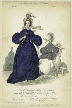 Costume d'Amazone en toile de laine, Petit Courrier des Dames, May 1834.